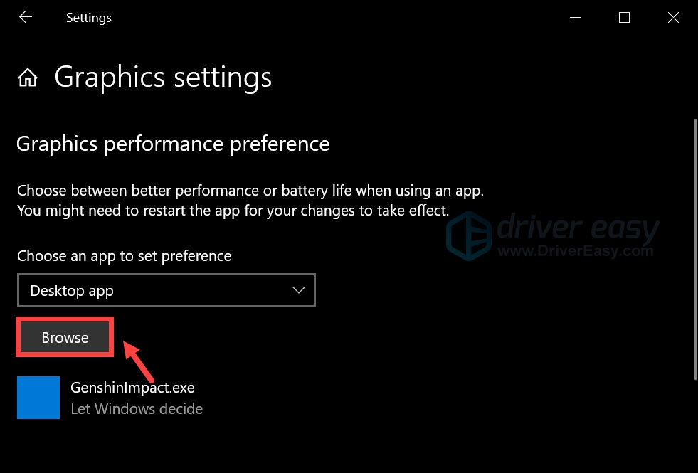 customize graphics performance preference
