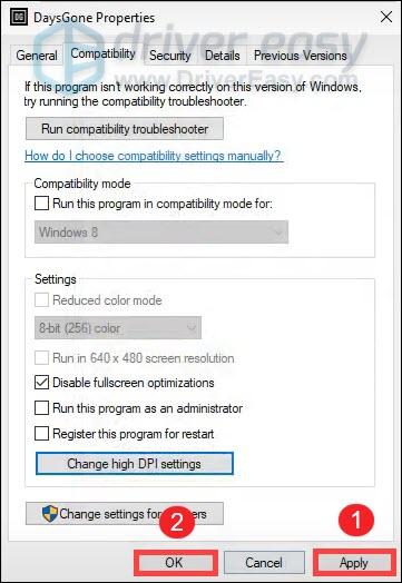 Days Gone disable fullscreen optimization