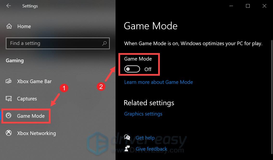 disable Windows 10 game mode