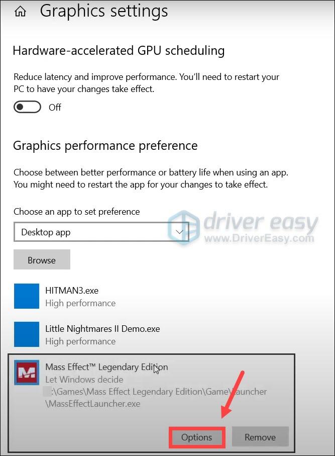 enable high performance Mass Effect Legendary Edition