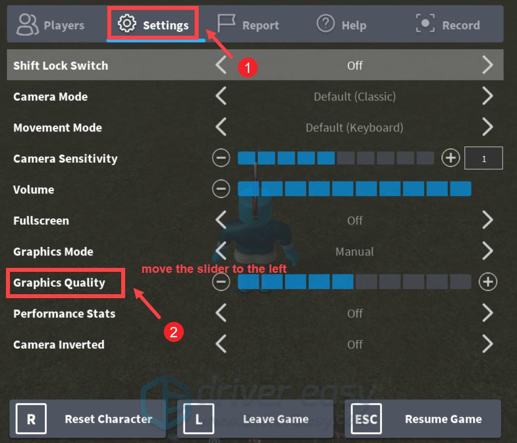 Roblox adjust graphics settings