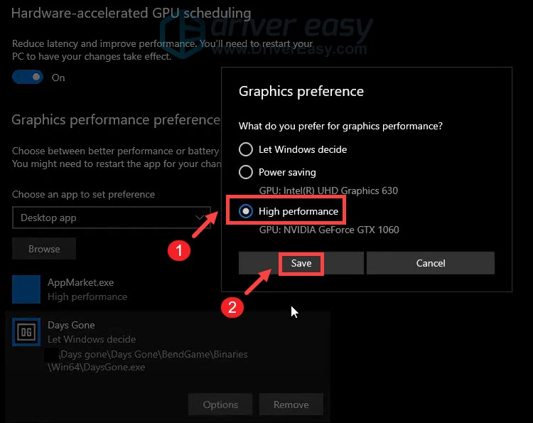 customize graphics performance preference high performance Days gone