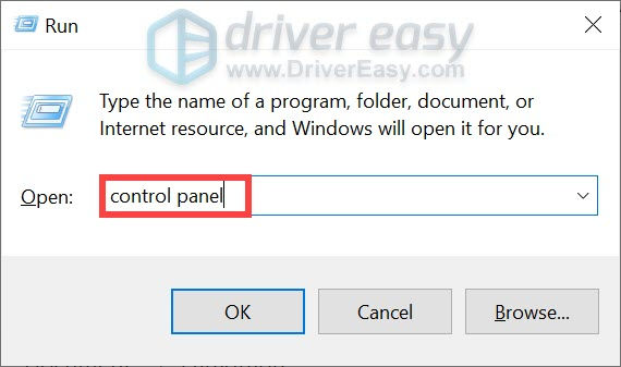 open the Control Panel using the command