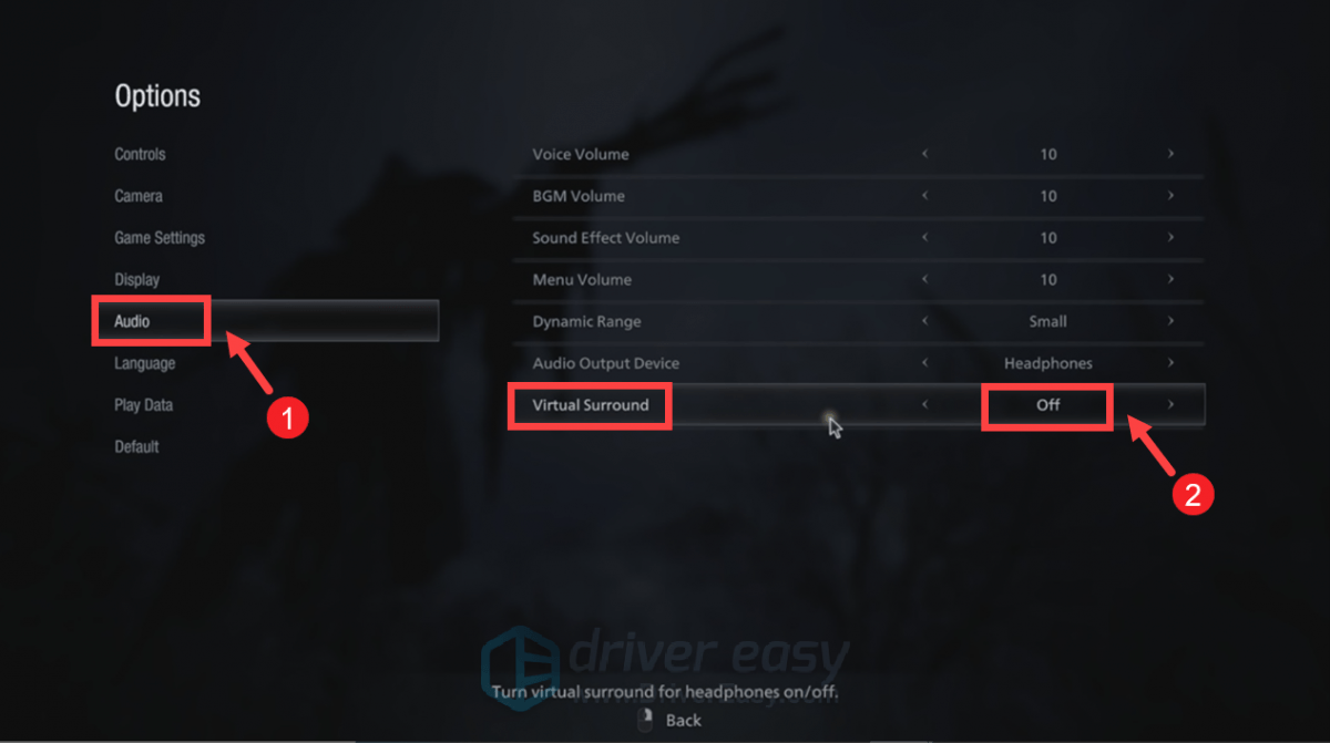 Resident Evil Village disable virtual surround