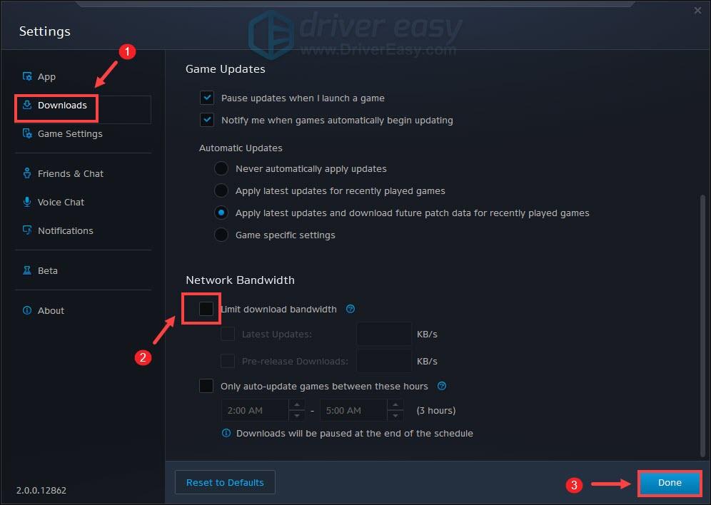 deselect Limite download bandwidth option Battle.net