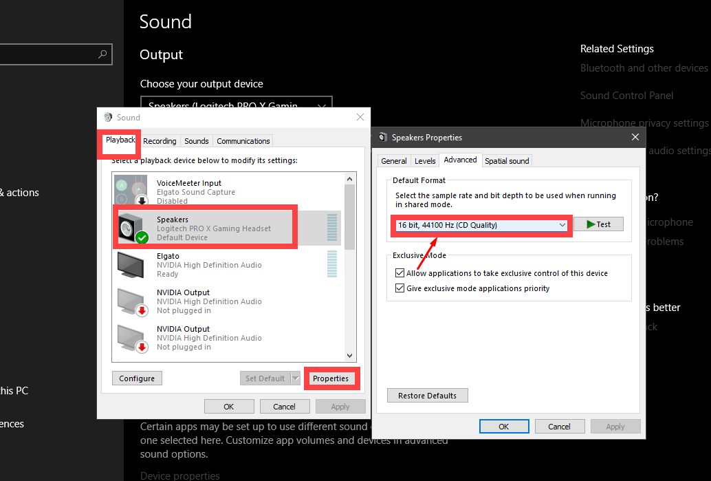 Logitech Pro X reset sound format