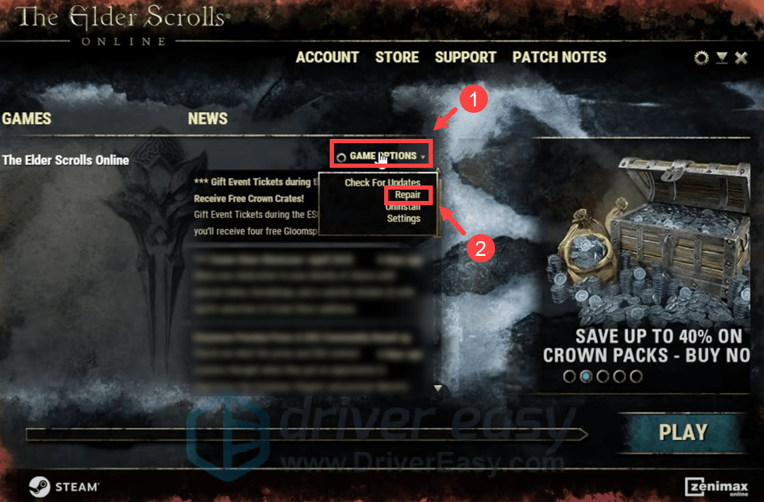 repair the game client Elder Scrolls Online
