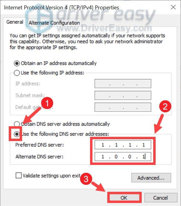 change DNS server to 1.1.1.1