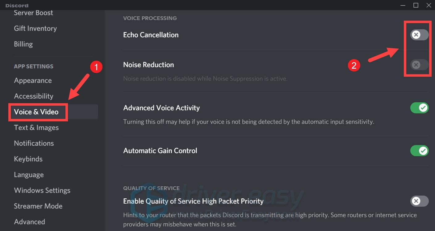 disable voice processing Discord