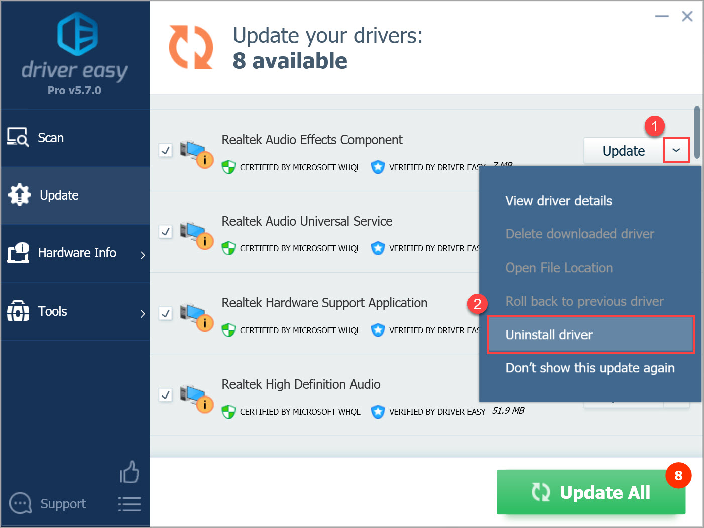Driver Easy Pro Uninstall Driver