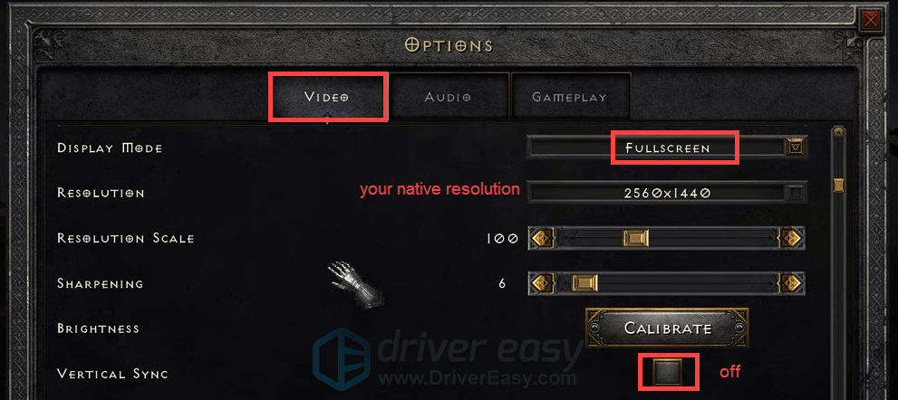 adjust in-game settings Diablo II: Resurrected