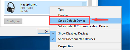 set another device as default