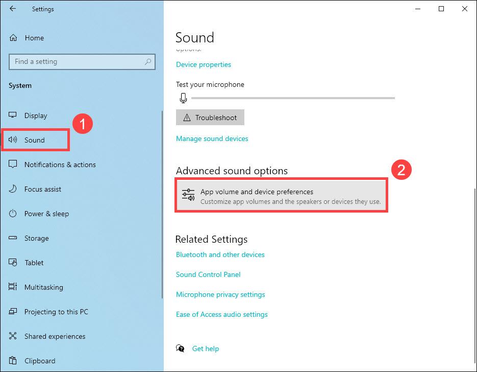 open advanced sound settings