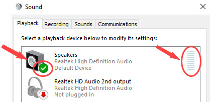 set the right default device
