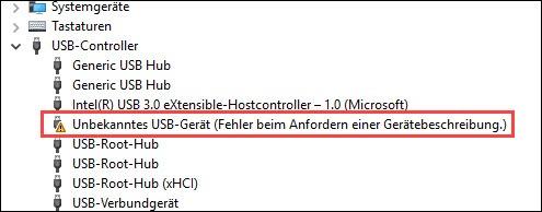 Fehler Bei Einer Anforderung Des Usb-Gerätedeskriptors.