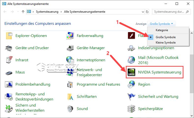 Nvidia systemsteuerung nicht gefunden